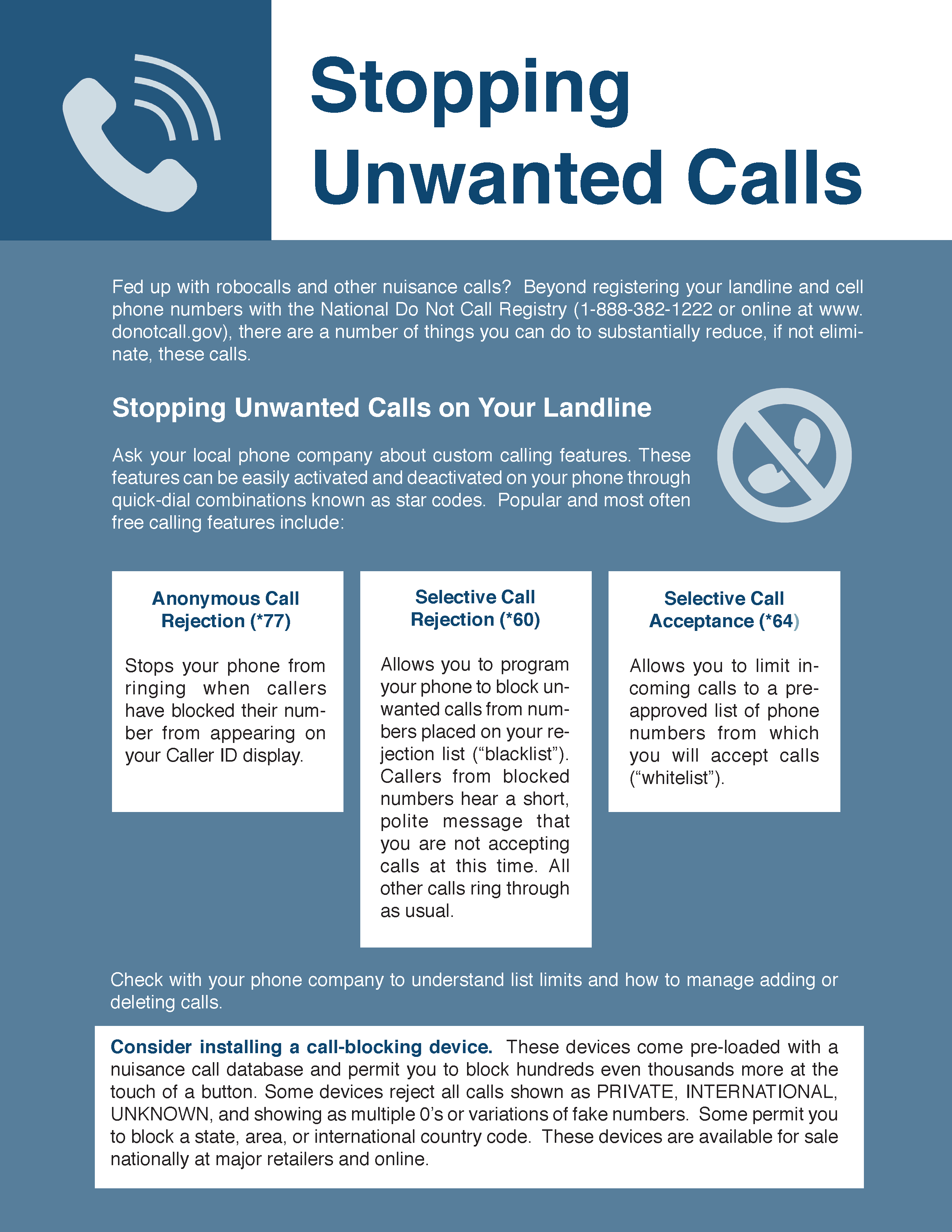 Stopping Unwanted Calls Cover