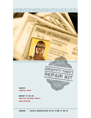 Identity Theft repair kit brochure cover