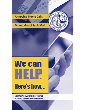 attorney general's stop unwanted phone calls and mail brochure cover