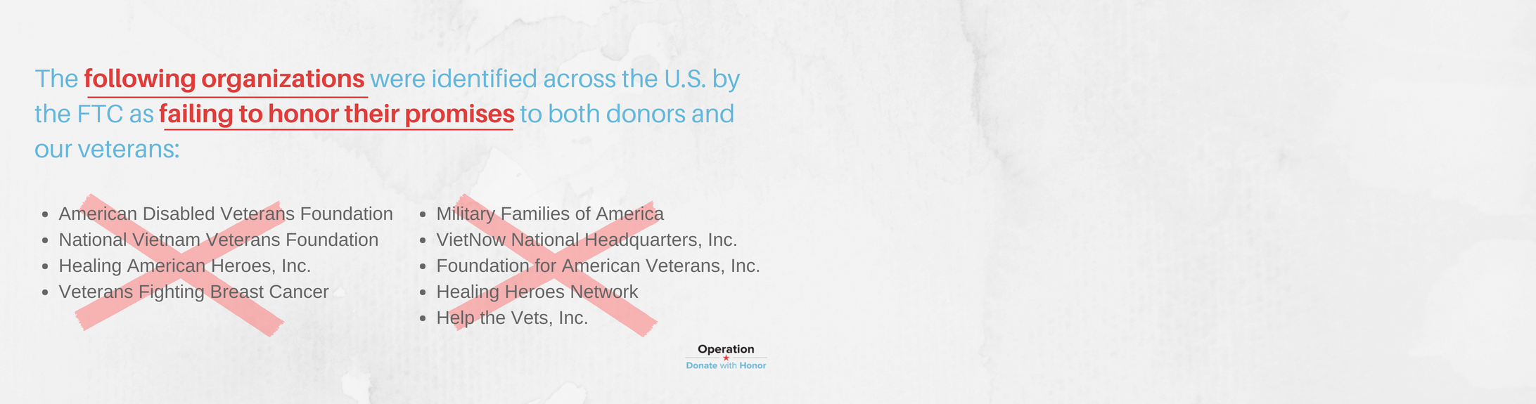 Image of list of charities from the FTC's Donate With Honor